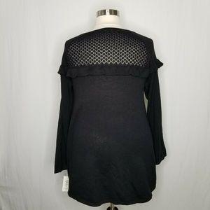 Style & Co Sweaters - Style & Co Black Ruffle Tunic Sweater Crochet Yoke